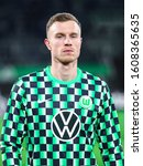 Small photo of Wolfsburg, Germany, December 12, 2019: Portrait of football player Yannick Gerhardt of VfL Wolfsburg a few minutes before the UEFA Europa League match between VfL Wolfsburg and AS Saint-Etienne