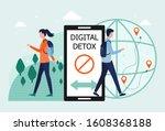 digital detox concept. a man... | Shutterstock .eps vector #1608368188