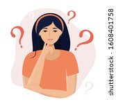 thinking woman with question... | Shutterstock .eps vector #1608401758