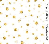 glitter gold circle and polka... | Shutterstock .eps vector #1608412972