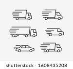 fast delivery truck icon set.... | Shutterstock .eps vector #1608435208