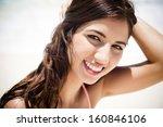 beautiful girl enjoying at a... | Shutterstock . vector #160846106