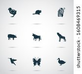 fauna icons set with bull ... | Shutterstock . vector #1608469315