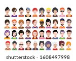 large set of people avatars in...   Shutterstock .eps vector #1608497998