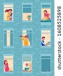 apartment windows flat vector... | Shutterstock .eps vector #1608525898