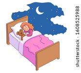 cute little girl sleeping and... | Shutterstock .eps vector #1608525988