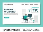 remote working landing page... | Shutterstock .eps vector #1608642358