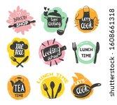 doodle cooking food logo set.... | Shutterstock .eps vector #1608661318