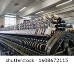 Small photo of Worsted yarn spinning machine by Prince Smith and Stell loaded with bobbins Bradford Yorkshire England 07/01/2020 by Roy Hinchliffe