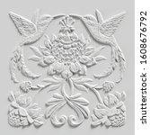 3d Render  White Floral Carving ...
