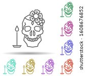 skull  flower  candle  catrina...