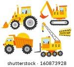 cute constructions truck set | Shutterstock .eps vector #160873928