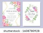beautiful wedding invitation... | Shutterstock .eps vector #1608780928