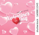 valentines day sale background... | Shutterstock .eps vector #1608811345
