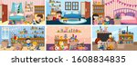 six scenes with children... | Shutterstock .eps vector #1608834835