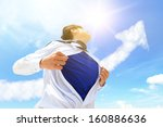 business man pulling his t... | Shutterstock . vector #160886636