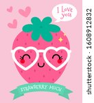 cute cartoon strawberry... | Shutterstock .eps vector #1608912832