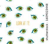 seamless pattern of eyes....   Shutterstock . vector #1609023448