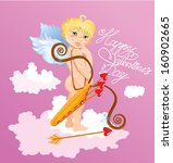 cute angel with arrows and bow... | Shutterstock .eps vector #160902665