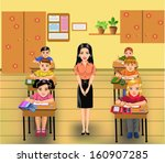 classroom with teacher and... | Shutterstock .eps vector #160907285