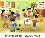 kids doing different activities ... | Shutterstock .eps vector #160907435