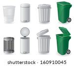 trash can and dustbin set icons ... | Shutterstock .eps vector #160910045