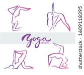 yoga poses  vector logo... | Shutterstock .eps vector #1609118395