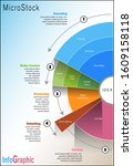 Microstock agency business infographic vector illustrations with colorful pie diagram - stock vector