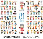 set of 81 different sports in... | Shutterstock .eps vector #1609173598