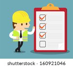 engineer with clipboard and... | Shutterstock .eps vector #160921046