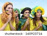 group of brazilian soccer fans... | Shutterstock . vector #160923716