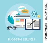 flat illustration of blog ... | Shutterstock .eps vector #1609245232