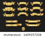 gold ribbon set in isolated for ... | Shutterstock .eps vector #1609257328