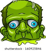 green zombie's head. isolated...
