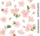 cherry flowers  seamless... | Shutterstock .eps vector #1609310092