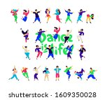 a group of dancing people... | Shutterstock . vector #1609350028