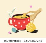 tea with lemon  ginger and... | Shutterstock .eps vector #1609367248