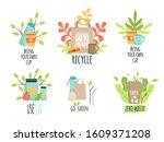 zero waste recycle ecology... | Shutterstock .eps vector #1609371208