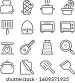 kitchen ware icons set vector... | Shutterstock .eps vector #1609371925