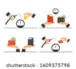 payment for fuel  fuel pump in... | Shutterstock .eps vector #1609375798