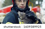 Small photo of Close-up portrait of heroic fireman in protective suit and red helmet holds saved cat in his arms, second firemans is out of focus near fire engine. Firefighter in fire fighting operation