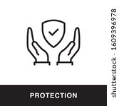 protection hand outline icon... | Shutterstock .eps vector #1609396978