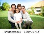 cute family portrait of 4 people | Shutterstock . vector #160939715