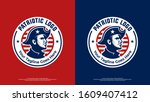 patriotic logo with badge style ... | Shutterstock .eps vector #1609407412