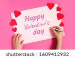 female hand writes a text... | Shutterstock . vector #1609412932