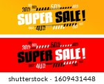 super sale on yellow and red... | Shutterstock .eps vector #1609431448