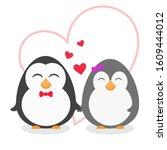 cute penguin couple on white... | Shutterstock .eps vector #1609444012