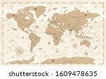 world map vintage cartoon... | Shutterstock .eps vector #1609478635