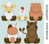 vector set of cartoon cute farm ... | Shutterstock .eps vector #160948142