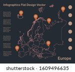 infographics europe map outline ... | Shutterstock .eps vector #1609496635